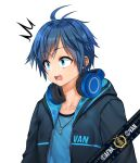 1boy ^^^ absurdres afba bangs blue_hair blush collarbone commission ears english_commentary english_text eyebrows_visible_through_hair hair_between_eyes headphones headphones_around_neck highres hood hood_down hoodie jewelry necklace open_mouth original short_hair short_sleeves simple_background surprised teeth white_background wide-eyed