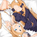2girls :d :o abigail_williams_(fate/grand_order) animal_ear_fluff animal_ears bangs bare_arms bare_shoulders bed_sheet black_bow black_dress blonde_hair bloomers blue_eyes blush bow cat_ears cat_girl cat_tail commentary_request dress dual_persona fang fate/grand_order fate_(series) feet_out_of_frame forehead foreshortening hair_bow highres kemonomimi_mode keyhole long_hair long_sleeves lying multiple_girls on_side open_mouth orange_bow outstretched_arm parted_bangs parted_lips polka_dot polka_dot_bow sleeves_past_fingers sleeves_past_wrists smile su_guryu swimsuit tail underwear very_long_hair white_bloomers white_swimsuit