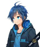1boy absurdres afba bangs blue_eyes blue_hair blush closed_mouth collarbone commission ears english_commentary english_text eyebrows_visible_through_hair hair_between_eyes headphones headphones_around_neck highres hood hood_down hoodie jewelry looking_away necklace original short_hair short_sleeves simple_background smile white_background