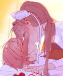 2girls bed bedroom bow brown_hair closed_eyes commentary_request doki_doki_literature_club hand_on_hand highres holding_hands kentylevel kiss long_hair monika_(doki_doki_literature_club) multiple_girls on_bed pillow ponytail red_bow ribbon sayori_(doki_doki_literature_club) school_uniform short_hair tied_hair undressing white_ribbon yuri