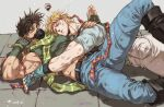 2boys bare_arms bare_shoulders battle_tendency belt blonde_hair blue_belt blue_gloves blue_pants blue_shirt boots brown_belt brown_hair caesar_anthonio_zeppeli closed_mouth commentary covered_mouth crop_top denim dirty dirty_clothes dirty_face eyebrows_behind_hair face_to_pecs facial_mark feather_hair_ornament fingerless_gloves gloves green_eyes green_gloves green_shirt grey_background hair_ornament hamon_mask head_on_chest head_rest headband highres jeans jojo_no_kimyou_na_bouken joseph_joestar_(young) knee_boots looking_at_another looking_at_viewer lying lying_on_person male_focus mask midriff_peek motion_lines mouth_mask multicolored multicolored_clothes multicolored_scarf multiple_boys muscle on_back one_eye_closed pants patting patting_back pectoral_pillow sashiyu scarf shirt short_hair short_sleeves signature sleeveless squiggle stone striped striped_scarf symbol_commentary triangle_print white_pants