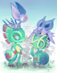 8r00t4l commentary creature crossover english_commentary eye_contact gen_3_pokemon gen_6_pokemon grass hands_on_hips kecleon laylee looking_at_another no_humans noibat on_head plant pokemon pokemon_(creature) pokemon_on_head standing yooka yooka-laylee