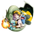 1boy alternate_color baseball_cap brown_eyes brown_hair charizard commentary_request fire flame gen_1_pokemon hat holding holding_pokemon ivysaur jacket looking_back male_focus one_eye_closed parted_lips pokemon pokemon_(creature) pokemon_(game) pokemon_frlg red_(pokemon) short_sleeves signature squirtle super_smash_bros. three_guo vs_seeker white_background yellow_headwear yellow_wristband