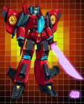 1980s_(style) 1girl airplane_wing artist_name autobot clenched_hands energy_sword english_commentary grid_background guido_guidi holding holding_sword holding_weapon mecha parody retro_artstyle solo standing style_parody sword transformers weapon windblade