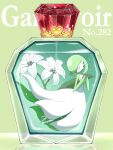 bottle character_name closed_eyes commentary_request flower gardevoir gen_3_pokemon green_background hands_up highres jahana_mei number perfume_bottle pokemon pokemon_(creature) solo white_flower