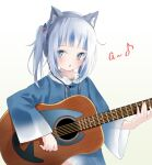 1girl :o a acoustic_guitar animal_costume bangs blue_eyes blue_hair blunt_bangs blush cat_ear_headphones commentary english_text gawr_gura guitar hair_ornament headphones highres holding holding_instrument hololive hololive_english hood hood_down instrument long_sleeves looking_at_viewer multicolored_hair shark_costume shark_girl shark_hair_ornament solo streaked_hair two_side_up virtual_youtuber white_background white_hair wide_sleeves yuzuno_kaori