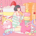 1girl black_hair butter camisole candy food fruit ice_cream ice_cream_scoop long_sleeves macaron original oversized_food pancake profile rubber_duck shirt short_hair sitting socks solo stack_of_pancakes strawberry strawberry_shortcake striped striped_legwear striped_shirt syrup wariza white_camisole wide_shot yoshimon