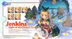 >_< 1girl azur_lane bangs bell bird blonde_hair box breasts cape character_name chick christmas christmas_ornaments christmas_tree commentary copyright_name dress elbow_gloves english_commentary english_text expressions fur-trimmed_cape fur-trimmed_gloves fur_trim gift gift_box gloves green_cape hair_bell hair_ornament hairclip high_heels highres jenkins_(azur_lane) jenkins_(light_of_the_holiest_star)_(azur_lane) jingle_bell lamp long_hair looking_at_viewer manjuu_(azur_lane) official_alternate_costume official_art open_mouth outdoors promotional_art red_dress red_eyes red_footwear red_gloves sack santa_costume scarf small_breasts snow solo squatting strapless strapless_dress thigh-highs twintails white_legwear