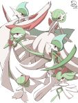 absurdres colored_skin commentary_request dated gallade gardevoir gen_3_pokemon gen_4_pokemon hand_up highres jahana_mei kirlia mega_gallade mega_gardevoir mega_pokemon outstretched_arm pokemon pokemon_(creature) ralts red_eyes signature simple_background white_background white_skin