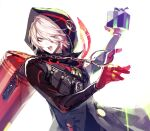 1boy backlighting black_coat coat colored_skin eyeshadow fate/grand_order fate_(series) gift gloves green_eyes hair_over_one_eye highres holding holding_gift hood hood_up karna_(fate) karna_(santa)_(fate) koshika_rina looking_at_viewer makeup male_focus open_mouth red_gloves short_hair solo tsurime upper_body white_background white_hair white_skin