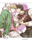 2boys battle_tendency belt blonde_hair brown_gloves brown_hair brown_pants caesar_anthonio_zeppeli card chinese_text closed_mouth colored_shadow commentary eye_contact eyebrows_behind_hair facial_mark feather_hair_ornament fingerless_gloves fork gloves green_eyes green_jacket grey_eyes grin hamon headband holding jacket jojo_no_kimyou_na_bouken joseph_joestar_(young) long_sleeves looking_at_another male_focus multiple_boys pants pink_shirt playing_card sashiyu shadow shirt short_hair signature smile suspenders translation_request triangle_print white_pants