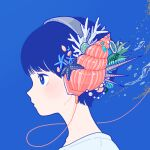 1girl blue_background blue_eyes blue_hair bubble coral headphones leaf original portrait seashell shell shirt short_hair solo starfish white_shirt yoshimon