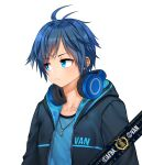 1boy absurdres afba bangs blue_hair blush collarbone commission ears english_commentary english_text eyebrows_visible_through_hair frown hair_between_eyes headphones headphones_around_neck highres hood hood_down hoodie jewelry looking_to_the_side necklace original short_hair short_sleeves simple_background unhappy white_background