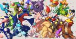 ;d absurdres alternate_color arm_up blue_eyes chandelure cinderace clenched_hands closed_eyes closed_mouth cloyster commentary_request elgyem emolga entei espeon fennekin flygon fur garchomp gen_1_pokemon gen_2_pokemon gen_3_pokemon gen_4_pokemon gen_5_pokemon gen_6_pokemon gen_7_pokemon gen_8_pokemon glaceon greninja highres legendary_pokemon lilligant looking_to_the_side mudkip ninetales nullma one_eye_closed open_mouth paws pink_eyes pokemon pokemon_(creature) ribombee riolu shiny shiny_pokemon smile sylveon toes tongue tongue_out tongue_scarf umbreon yellow_eyes |d