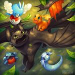 :d black_eyes charmander claws commentary creature dragon dratini english_commentary fangs fire flame flying gen_1_pokemon gen_3_pokemon gen_4_pokemon gible grass green_eyes holding holding_poke_ball how_to_train_your_dragon leaf no_humans open_mouth poke_ball poke_ball_(basic) pokemon pokemon_(creature) smile sunset_dragon swablu toothless trait_connection violet_eyes
