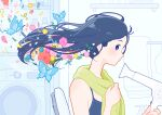 1girl black_hair blue_butterfly blue_eyes blue_flower blush bug butterfly flower hair_dryer highres insect long_hair original pink_flower purple_flower red_flower solo towel upper_body yellow_flower yoshimon