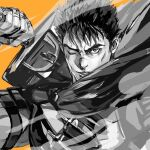 1boy bangs berserk commentary commission dragonslayer_(sword) english_commentary greyscale guts_(berserk) holding holding_sword holding_weapon lips looking_at_viewer male_focus monochrome one_eye_closed orange_background orange_eyes over_shoulder parted_lips scar scar_on_face scar_on_nose serious short_hair simple_background sketch solo spot_color sword thick_eyebrows upper_body weapon weapon_over_shoulder zzyzzyy
