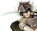 1boy armor bandaid bandaid_on_face bangs blood blood_on_face brown_eyes brown_hair cape chainmail closed_mouth commentary_request dutch_angle emblem gauntlets grandyoukan green_cape hair_between_eyes head_fins helmet holding holding_sword holding_weapon knight_(ragnarok_online) korean_commentary looking_at_viewer male_focus pauldrons ragnarok_online short_hair shoulder_armor simple_background solo sword uneven_eyes weapon white_background