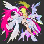 1girl absurdres angel_wings angewomon bow_(weapon) breasts digimon elbow_gloves energy_arrow floating gloves grey_background helmet hexed highres holding holding_bow_(weapon) holding_weapon long_hair looking_down medium_breasts multiple_wings navel pink_scarf scarf single_elbow_glove single_glove single_legging solo thigh_strap very_long_hair weapon white_gloves wings