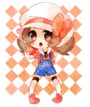 1girl blue_overalls brown_eyes checkered checkered_background commentary_request flat_chest legs_apart long_hair lyra_(pokemon) open_mouth overalls pokemon pokemon_(game) pokemon_hgss shoes solo standing twintails white_headwear yukiu_(yukiusagi913)