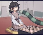 1girl :< black_hair blind blind_girl_(popopoka) blurry blurry_background blush board_game chess chess_piece chessboard commentary cushion depth_of_field dress english_commentary freckles glint grey_eyes hands_on_lap hunter_x_hunter indoors knife_to_throat komugi_(hunter_x_hunter) letterboxed long_sleeves low_twintails original popopoka purple_sash sash seiza sitting solo_focus sweat sweating_profusely trait_connection trembling twintails wide-eyed zabuton