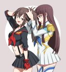 2girls absurdres bangs blunt_bangs blush boots brown_hair commentary commission english_commentary eudetenis eyebrows_visible_through_hair gloves highres junketsu kill_la_kill kiryuuin_satsuki long_hair matoi_ryuuko miniskirt multiple_girls navel original red_gloves second-party_source senketsu single_glove skirt smile thigh-highs tying_hair
