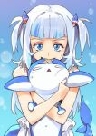 1girl 1other bandaid bandaid_on_forehead bangs bloop_(gawr_gura) blue_background blue_nails blunt_bangs blush bubble_background commentary crossed_arms english_commentary fang fingernails fish_tail gawr_gura holding_person hololive hololive_english hug medium_hair optionaltypo shark_girl shark_tail tail two_side_up virtual_youtuber