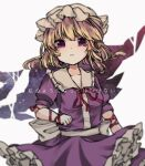 1girl bangs blonde_hair breasts commentary_request dress frilled_dress frills looking_at_viewer maribel_hearn purple_dress sato_imo short_hair simple_background solo touhou translation_request violet_eyes