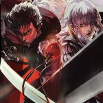 2boys androgynous armor bangs berserk black_eyes black_hair blood blue_eyes closed_mouth commentary dragonslayer_(sword) english_commentary floating_hair griffith_(berserk) guts_(berserk) huge_weapon lips long_hair looking_at_viewer male_focus multiple_boys one_eye_closed painttool_sai_(medium) red_lips scar scar_on_face scar_on_nose serious short_hair sword upper_body wavy_hair weapon white_hair zzyzzyy