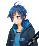 1boy absurdres afba bangs blue_eyes blue_hair blush collarbone commission ears english_commentary english_text eyebrows_visible_through_hair grin hair_between_eyes happy headphones headphones_around_neck highres hood hood_down hoodie jewelry looking_to_the_side necklace open_mouth original short_hair short_sleeves simple_background smile teeth white_background