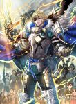 1boy areadbhar_(fire_emblem) armor bangs belt blonde_hair blue_belt blue_cape blue_eyes breastplate cape clover_k commentary cowboy_shot crest_of_blaiddyd crowd dimitri_alexandre_blaiddyd eyepatch fire_emblem fire_emblem:_three_houses fire_emblem_cipher fur-trimmed_cape fur_trim hair_between_eyes highres holding holding_spear holding_weapon looking_at_viewer official_art outdoors pauldrons polearm short_hair shoulder_armor spear standing third-party_source weapon