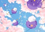 black_eyes blue_sky cherry_blossoms clouds cloudy_sky commentary_request creature day drifloon floating gen_4_pokemon highres looking_at_viewer no_humans one_eye_closed pokemon pokemon_(creature) sky yukiu_(yukiusagi913)