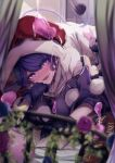 1girl bangs black_gloves blob blue_eyes blue_hair blurry_foreground blush breasts bright_pupils commentary_request curtains doremy_sweet dream_soul dress flower gloves hand_on_own_chin hat head_tilt heart heart-shaped_pupils indoors ishikawa_sparerib large_breasts looking_at_viewer lying nightcap on_bed on_stomach open_mouth polka_dot pom_pom_(clothes) poncho red_headwear short_hair solo symbol-shaped_pupils tail tapir_tail touhou turtleneck white_dress white_pupils window