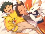 2boys antenna_hair ash_ketchum bangs bed_sheet beige_pants brown_hair capri_pants character_print chitozen_(pri_zen) cinderace closed_eyes eyelashes from_above gen_1_pokemon gen_8_pokemon goh_(pokemon) lying male_focus multiple_boys on_back open_mouth pants pikachu pokemon pokemon_(anime) pokemon_(creature) pokemon_swsh_(anime) print_shirt shirt short_hair short_sleeves sleeping symbol_commentary t-shirt teeth tongue