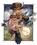 1boy cloak flower hat highres hungry_clicker instrument leaf long_hair male_focus minstrel_(saga) moon romancing_saga_minstrel_song saga silver_hair simple_background solo standing