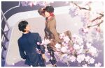 2boys alternate_costume bangs black_hair black_headwear blue_eyes blue_shirt brown_coat cherry_blossoms coat collared_shirt couple free! from_above hair_between_eyes hands_in_pockets looking_at_viewer looking_up male_focus matsuoka_rin multiple_boys oh_ki_ik petals red_eyes redhead road shirt short_hair street sunlight winter_clothes yamazaki_sousuke