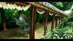 1girl animal_ears bangs brown_eyes brown_hair drink eyebrows_visible_through_hair forest geta green_kimono hakama highres japanese_clothes kimono kuro_kosyou letterboxed long_hair low-tied_long_hair miko nature original outdoors raccoon_ears raccoon_girl raccoon_tail shide shiori_(kuro_kosyou) short_eyebrows skirt solo stairs tail tray tripping wide_sleeves