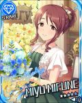 blush brown_eyes brown_hair character_name dress idolmaster idolmaster_cinderella_girls lon_hair mifune_miyu smile stars