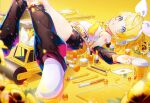 1girl black_shorts blonde_hair blue_eyes bottle bow card_(medium) cosmetics cup detached_sleeves disposable_cup flower guitar hair_bow hair_ornament hairclip headphones headset instrument kagamine_len kagamine_rin leg_warmers lipstick lipstick_tube looking_at_viewer lotion lotion_bottle lying makeup makeup_brush mascara mechanical_pencil nail_polish_bottle neckerchief on_back open_mouth pen pencil sawashi_(ur-sawasi) shoes short_hair shorts solo steamroller toy_car vocaloid white_bow white_footwear yellow_belt yellow_neckwear