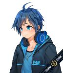 1boy absurdres afba bangs blue_hair blush collarbone commission crying crying_with_eyes_open ears english_commentary english_text eyebrows_visible_through_hair hair_between_eyes headphones headphones_around_neck highres hood hood_down hoodie jewelry necklace open_mouth original sad short_hair short_sleeves simple_background tearing_up tears teeth white_background