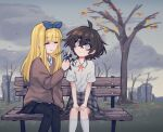 2girls :d autumn_leaves bangs bench black_hair black_legwear black_skirt blind_girl_(popopoka) blue_neckwear blue_ribbon brown_sweater bully_girl_(popopoka) closed_eyes closed_mouth clouds cloudy_sky commentary crossed_bangs cutting_hair day english_commentary freckles grey_eyes hair_between_eyes highres holding holding_scissors long_sleeves medium_hair miniskirt multiple_girls neck_ribbon onomatopoeia open_mouth orange_neckwear orange_ribbon original outdoors pantyhose park pleated_skirt popopoka ribbon scissors sitting skirt sky smile socks sound_effects sweater white_legwear wide-eyed