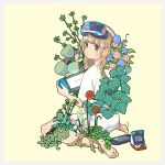 1girl absurdres bangs barefoot blue_flower blunt_bangs branch brown_eyes brown_hair flower from_behind hairband handheld_game_console head_mounted_display highres holding holding_handheld_game_console long_hair looking_at_viewer looking_back nintendo_switch original pink_flower plant red_flower shirt simple_background solo white_hairband white_shirt yellow_background yellow_flower yoshimon