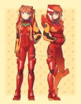 1girl bangs blue_eyes boots closed_mouth dav-19 hand_on_hip hands_in_pockets highres hood jacket long_hair looking_at_viewer neon_genesis_evangelion nerv open_clothes open_jacket plugsuit redhead shaded_face smile solo souryuu_asuka_langley watermark