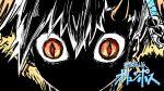 1girl cloak fate/grand_order fate_(series) fur-trimmed_cloak fur_trim high_contrast horns kan_(aaaaari35) long_horns olga_marie_animusphere orange_eyes parody red_pupils slit_pupils solo style_parody tengen_toppa_gurren_lagann ttgl_eyecatch u-olga_marie white_hair