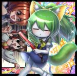 3girls animal_ears bangs black_border black_eyes blouse blue_dress blue_vest blush border bow brown_eyes brown_hair cat_ears cat_tail closed_eyes closed_mouth colored_skin commentary cookie_(touhou) daiyousei detached_sleeves diyusi_(cookie) dress eyebrows_visible_through_hair full_body gaijin_4koma green_hair hair_between_eyes hair_bow hair_tubes hakurei_reimu high-visibility_vest highres hinase_(cookie) holding japanese_clothes kimono kusaremix looking_at_another medium_hair meme multiple_girls necktie noel_(cookie) onozuka_komachi open_mouth pinafore_dress pointing puffy_short_sleeves puffy_sleeves red_bow red_shirt redhead ribbon-trimmed_sleeves ribbon_trim second-party_source shaded_face shirt shishou_(cookie) short_hair short_sleeves side_ponytail socks solo_focus sparkle tail touhou traffic_baton triangle_mouth upper_body vest white_blouse white_kimono white_legwear white_skin white_sleeves yellow_bow yellow_neckwear