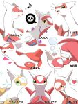alternate_color blush bubble claws closed_eyes closed_mouth commentary gen_3_pokemon green_eyes heart highres jahana_mei latias legendary_pokemon looking_at_viewer musical_note no_humans open_mouth poison pokemon pokemon_(creature) shiny_pokemon sleeping smile sparkle tongue translation_request white_background yellow_eyes