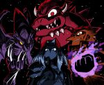 bowser claws crossed_arms evil_smile fangs final_fantasy final_fantasy_vii ganondorf glaring glowing_fist highres horns mario_(series) metroid rariatto_(ganguri) ridley sephiroth shaded_face smile spiked_shell super_mario_bros. super_smash_bros. the_legend_of_zelda the_legend_of_zelda:_ocarina_of_time wings