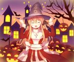 1girl bangs bat bat_wings blonde_hair bow closed_eyes commentary_request cowboy_shot cross cross_necklace doridori dress eyebrows_visible_through_hair hair_between_eyes halloween hand_on_headwear happy hat head_wings high_priest_(ragnarok_online) jack-o'-lantern jewelry lamppost long_hair necklace open_mouth orange_sky pumpkin ragnarok_online red_dress sash sky solo sparkle standing town tree two-tone_dress white_bow white_dress white_sash window wings witch_hat