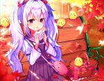 1girl :d ahoge alternate_costume animal_ears autumn autumn_leaves azur_lane bag baozi bench bird blurry blush_stickers casual chick commentary_request contemporary depth_of_field eyebrows_visible_through_hair fake_animal_ears food food_on_face forest hair_between_eyes handbag hat holding holding_food kyarameru76 laffey_(azur_lane) leaf light_purple_hair long_hair looking_at_viewer manjuu_(azur_lane) maple_leaf nature open_mouth park_bench picnic_basket rabbit_ears red_eyes sitting smile thermos tree twintails