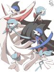 absurdres alternate_color colored_skin commentary_request dated gallade gardevoir gen_3_pokemon gen_4_pokemon hand_up highres jahana_mei kirlia mega_gallade mega_gardevoir mega_pokemon outstretched_arm pokemon pokemon_(creature) ralts red_eyes shiny_pokemon signature simple_background white_background white_skin